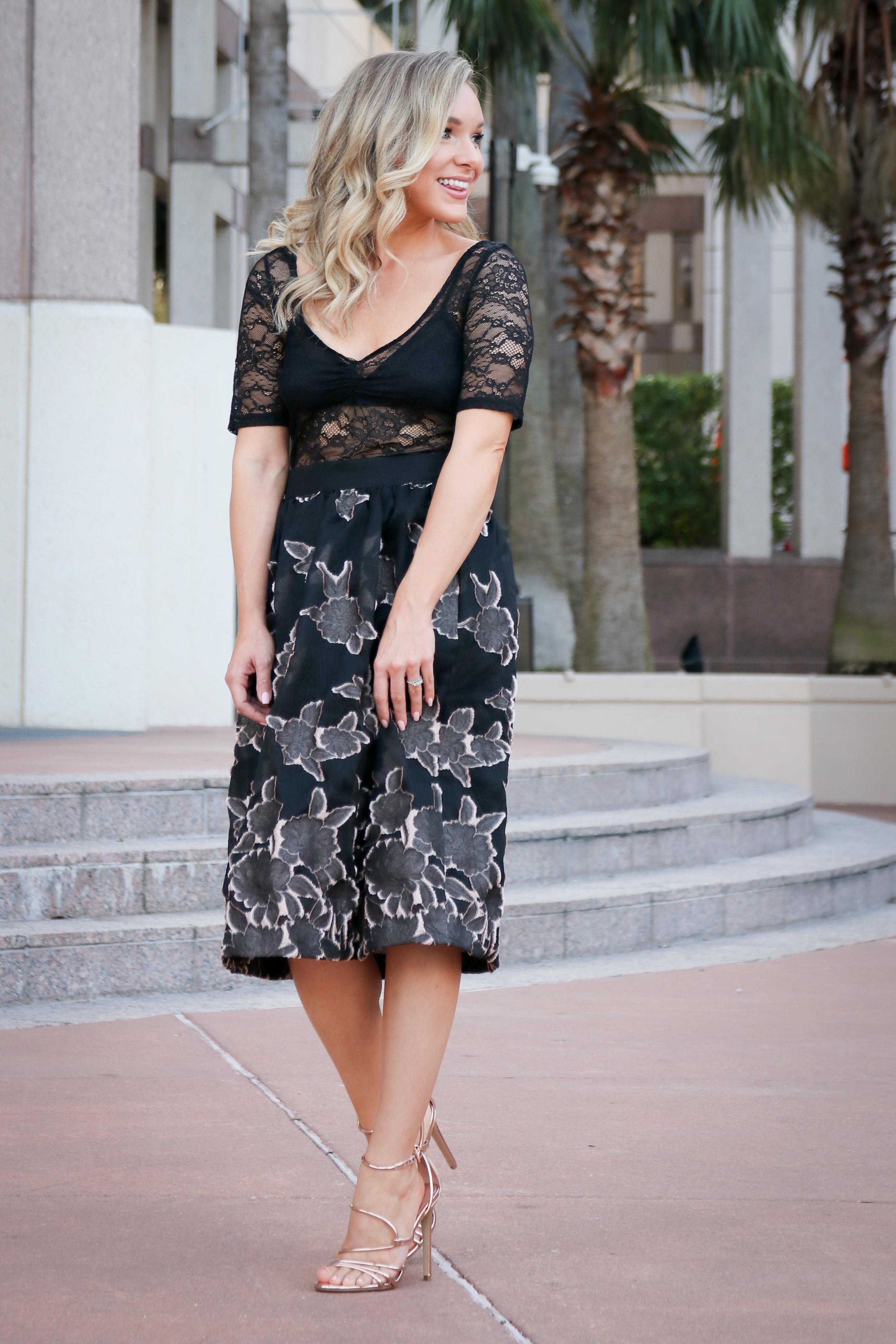 outfit skirt black lace bodysuit shannon sullivan