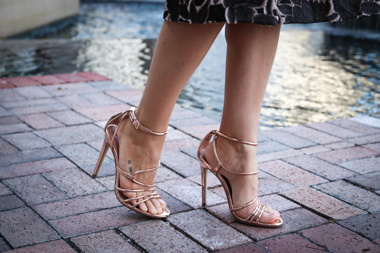 rose gold sandals heels